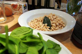 Soaked beans and organic spinach await the pressure cooker.