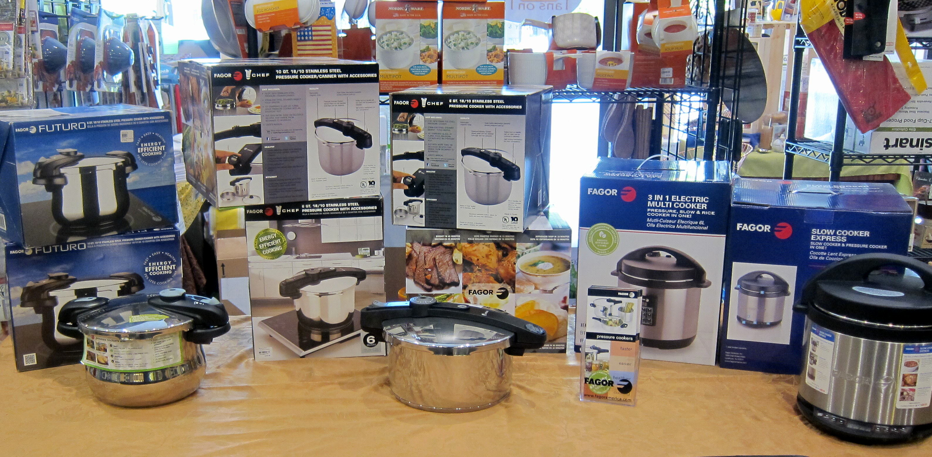 Pressure cooker display at Pans on Fire