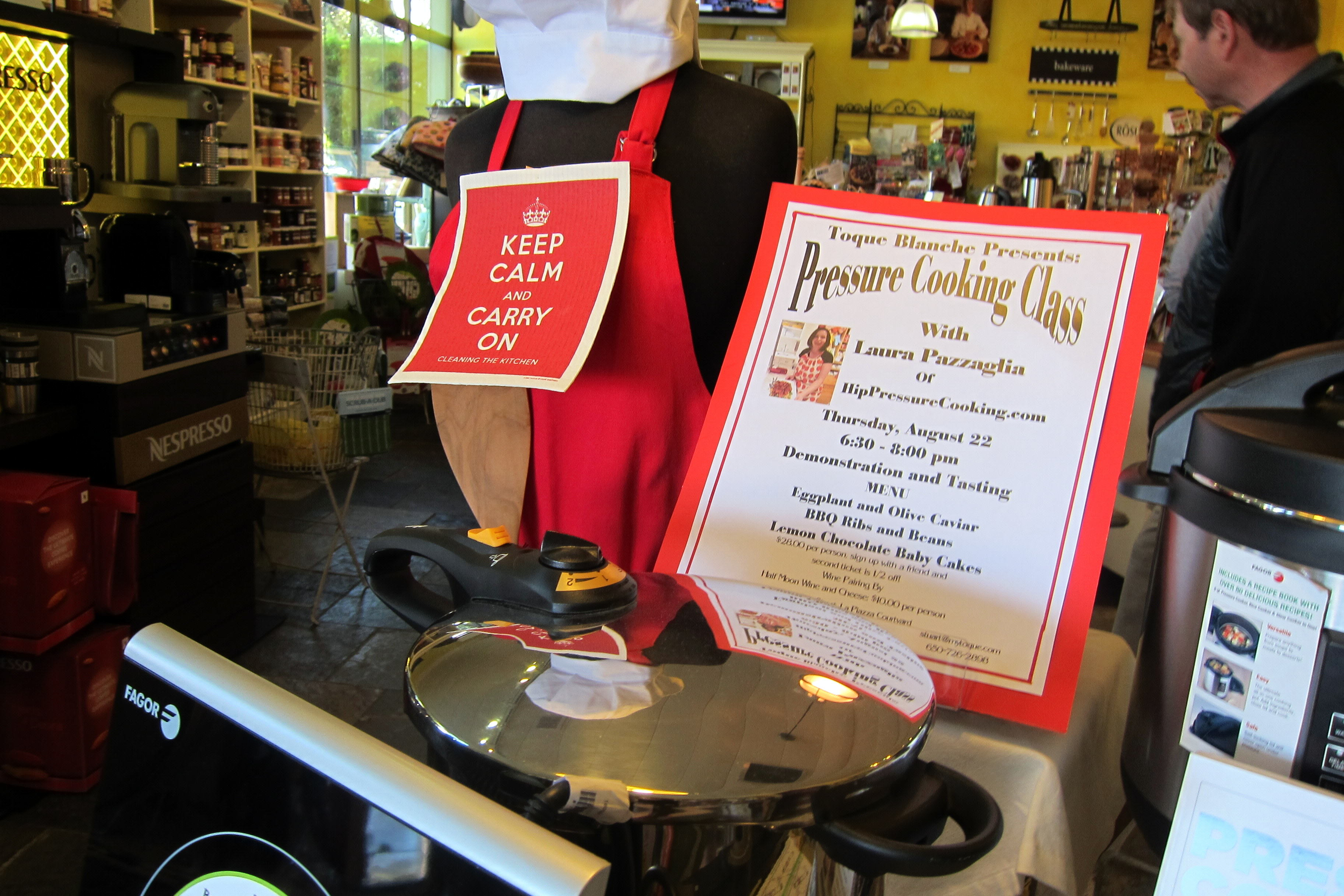 Sign announcing pressure cooking class