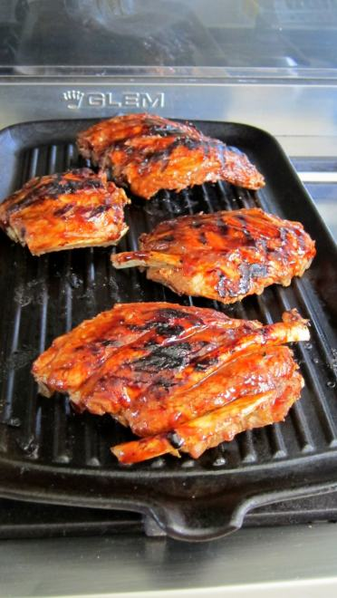 tandoori BBQ pressure cooker pork ribs on grill
