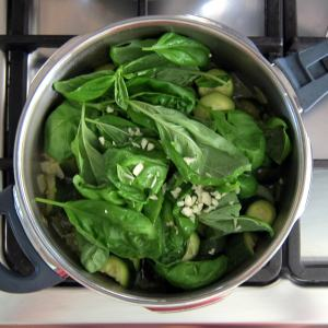 Add basil and garlic-