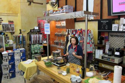 Laura Pazzaglia explains pressure cooker opening methods at Lodi Cooks.