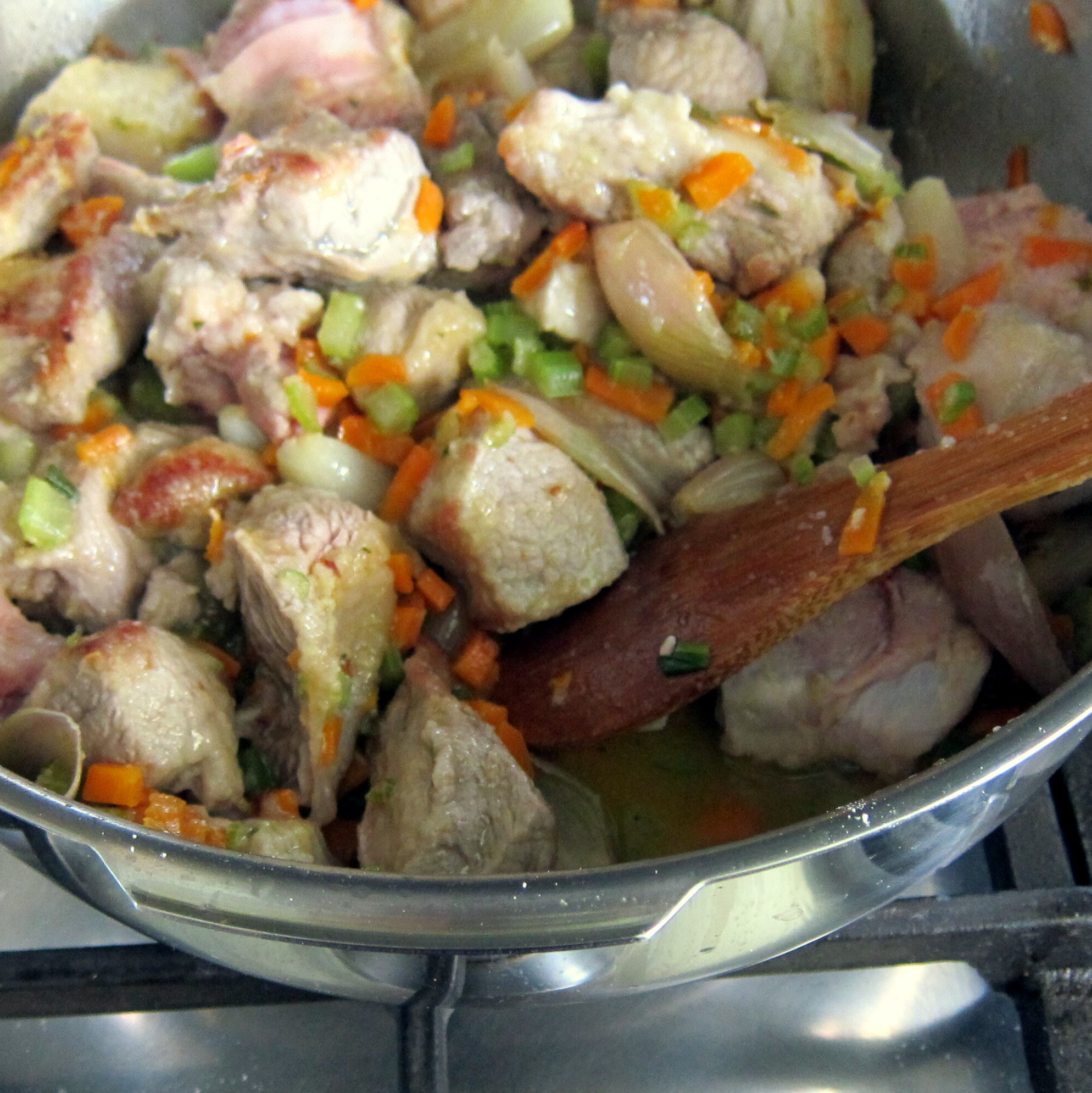 Add wine and simmer until evaporated. Then water to almost cover meat.