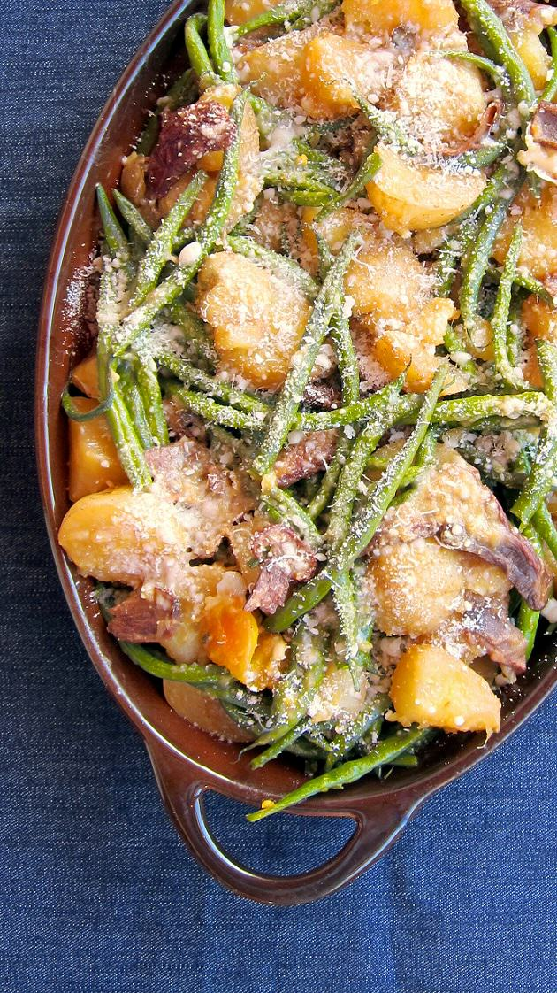 Green Bean Casserole with Potatoes and Porcini Mushrooms - pressure cooker recipe!