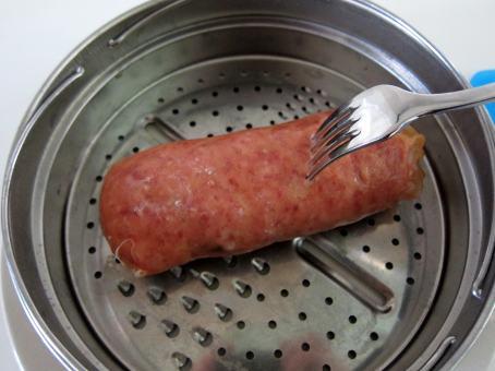 Pierce sausage casing all around.