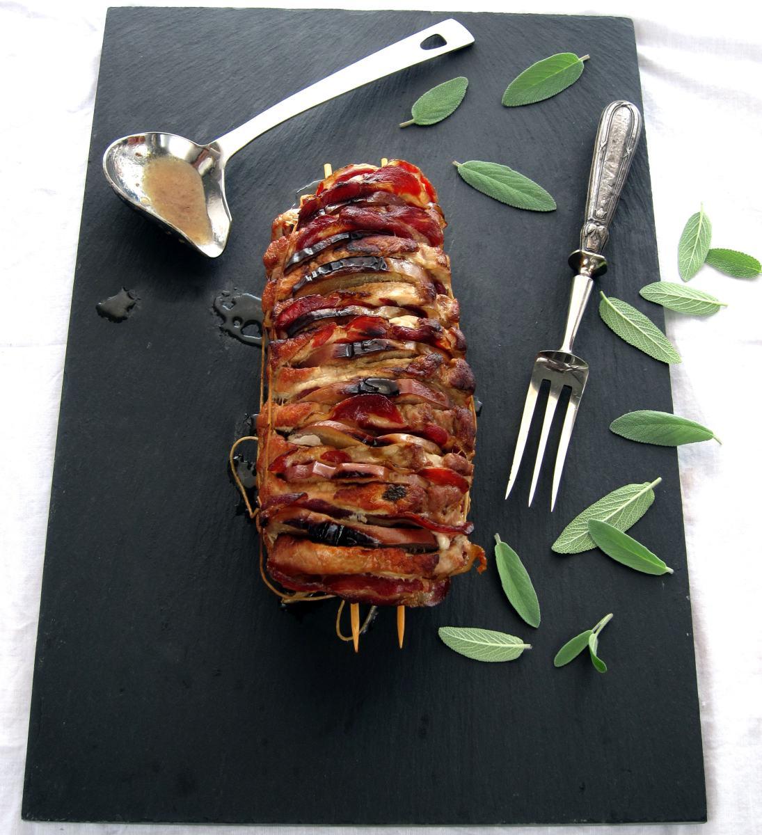 Hasselback Pork Roast With Apples Coppa Amp Sage Hip