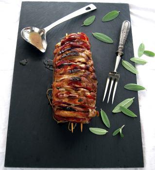 Hasselback Pork Roast with Apples, Coppa & Sage