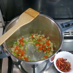 Saute veggies in pancetta fat.