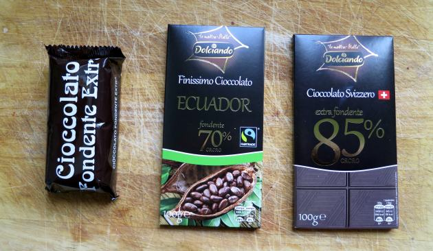 Testing three types of dark chocolate, from left to right: 50%, 72% and 85%