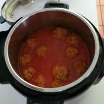 Pressure cooked meatballs