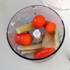 Chop carrots and celery in mini-chopper