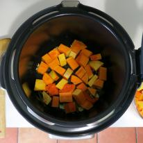 Tumble in just enough cubes to cover the base - don't stir for 4 minutes!