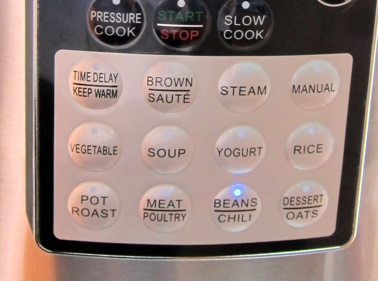 Zavor' LUX Edge Mulicooker Control Panel. Program Buttons shown (from left-right, top to bottom): Time Delay/Keep Warm, Brown/Saute, Steam, Manual, Vegetable, Soup, Yogurt, Rice; Pot Roast, Meat/Poultry, Beans/Chili, Dessert/Oats