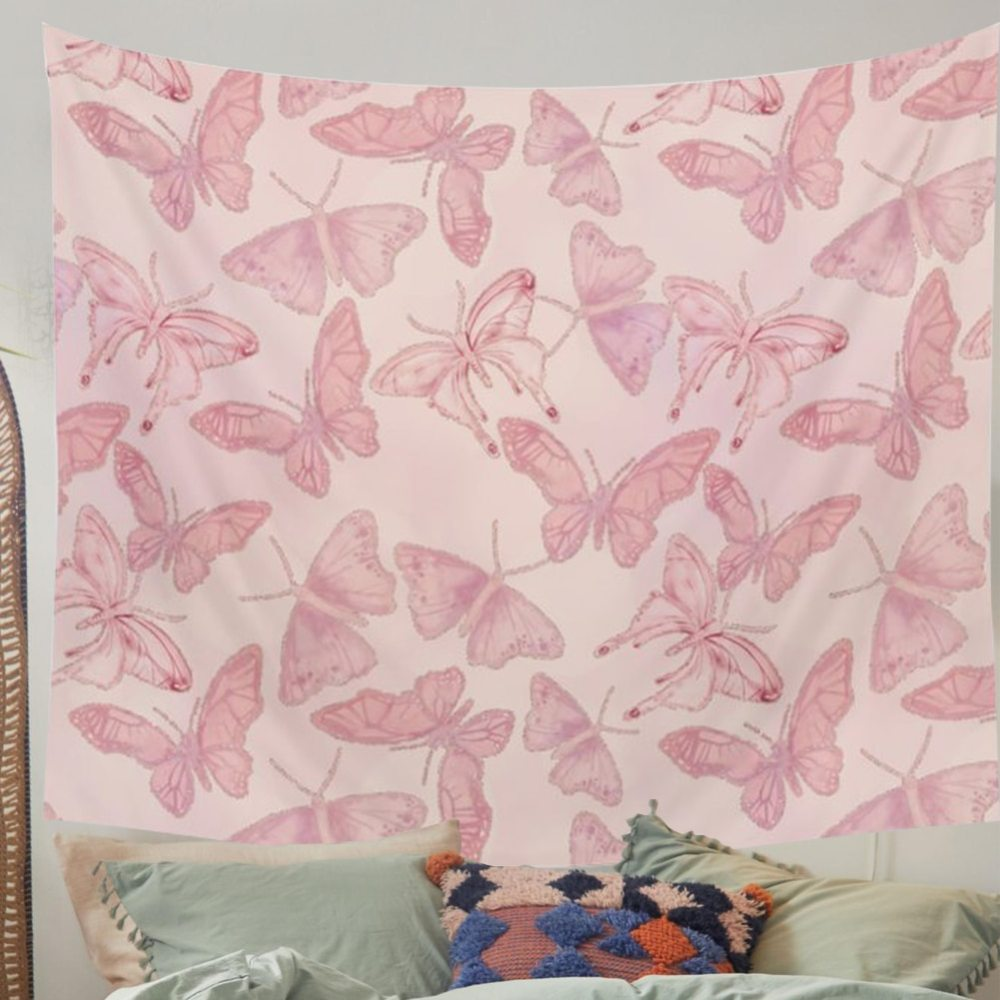 Pink Butterfly Tapestry Boho Decor Background Wall Cloth 1