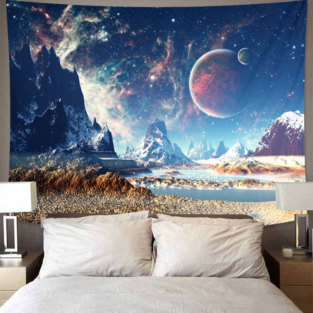 Galaxy Universe Space Tapestry Stars Wall Hanging Hippie Home Decor Yoga Beach Mat Wall Cloth Tapestries 2