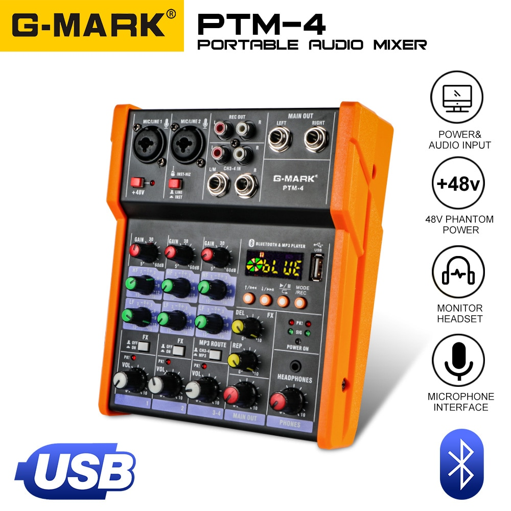 G-MARK PTM-4 Audio Mixer Mixing DJ Console With Sound Card USB 48V Phantom Power For PC Recording Singing Webcast Party 1