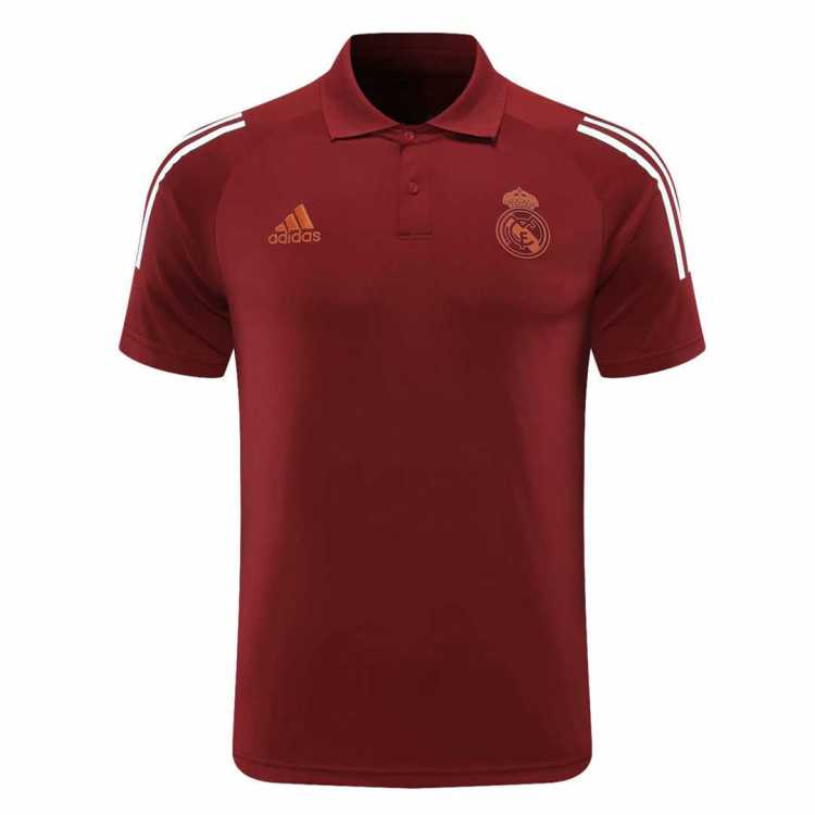 2020-21 Real Madrid UCL Maroon Man Soccer Polo Jersey ...