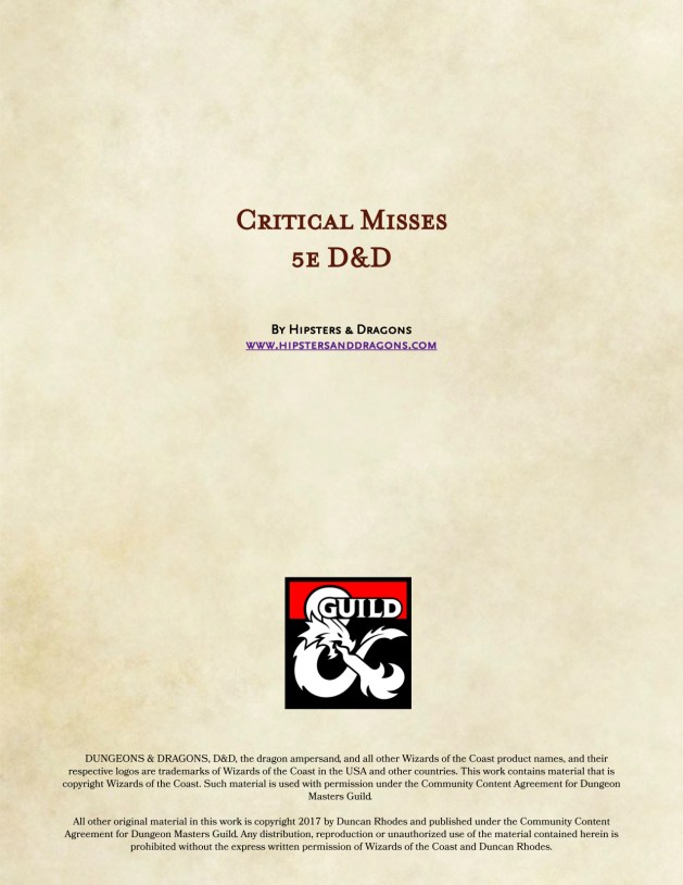 Critical Fumble Charts for 5e D&D