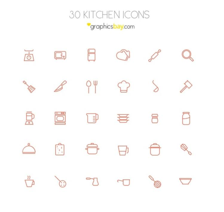30 Free Kitchen Vector Icons