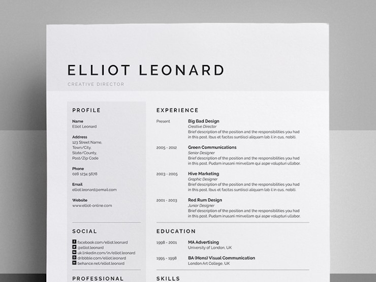 resume designs elliot dribbble