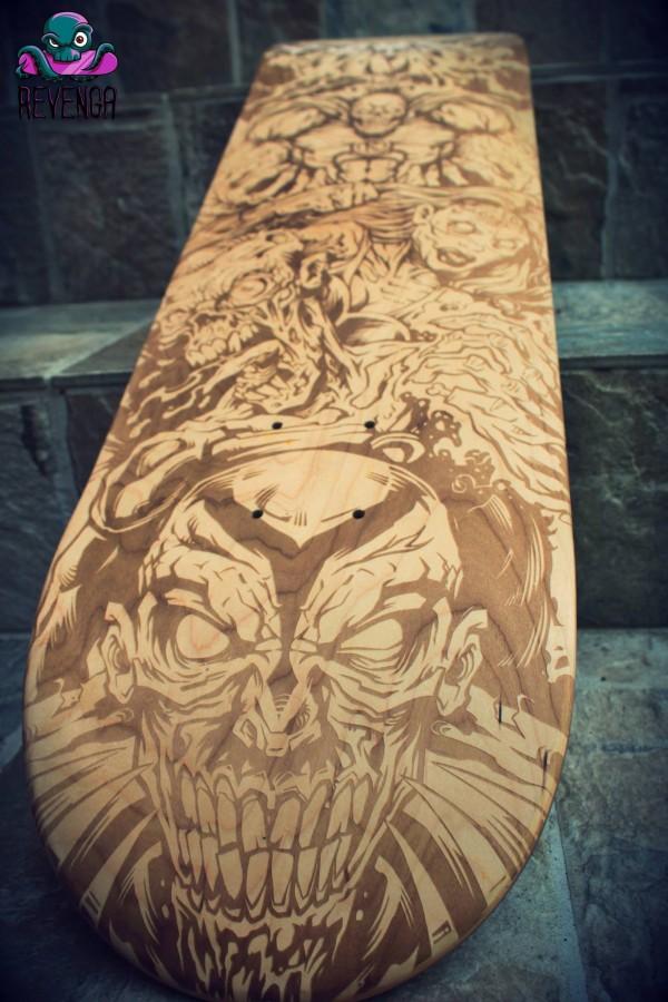 Zombie Superhero Laser-Engraved Skateboard