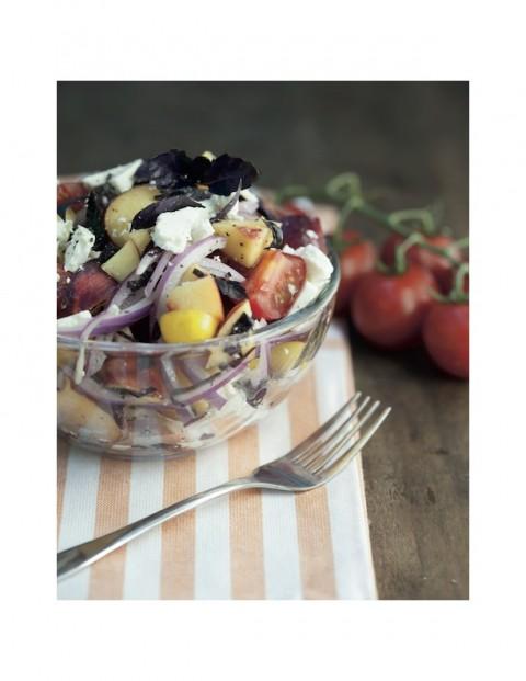 Nectarine Tomato Feta Salad, Christina Symons photo