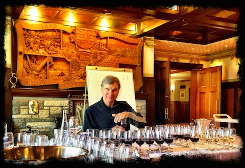 Lieutenant Governor's Awards judge—and total 'wine and food guru' Sid Cross in action and suitably framed!