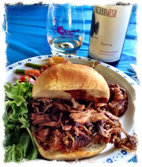 Okanagan Falls, Good bites from The Chef Instead, pulled pork—with Syncromesh Riesling, of course