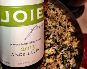 Joie Noble Blend with creamy nettle risotto