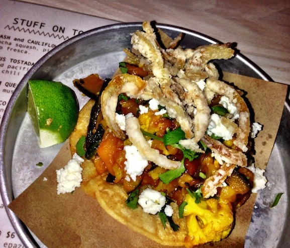 Tacofino Tacobar squah and cauliflower tostada