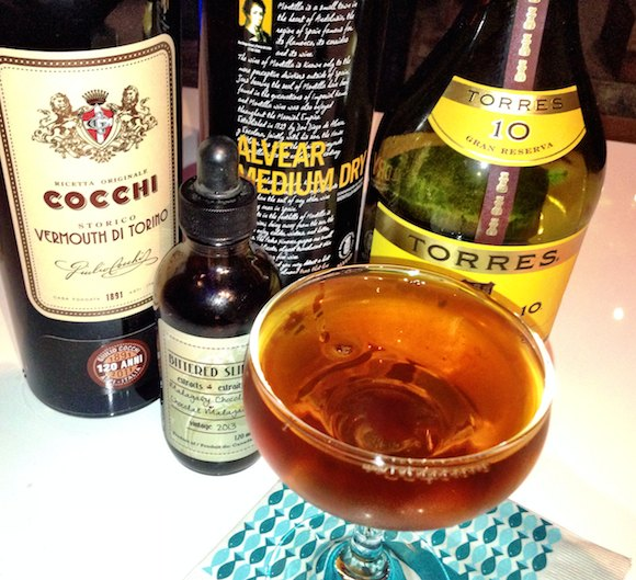 Alvear sherry, Torres brandy and Cocchi vermouth—along with Bittered Sling Malagasy chocolate combine for Oceans Rock of Gibraltar