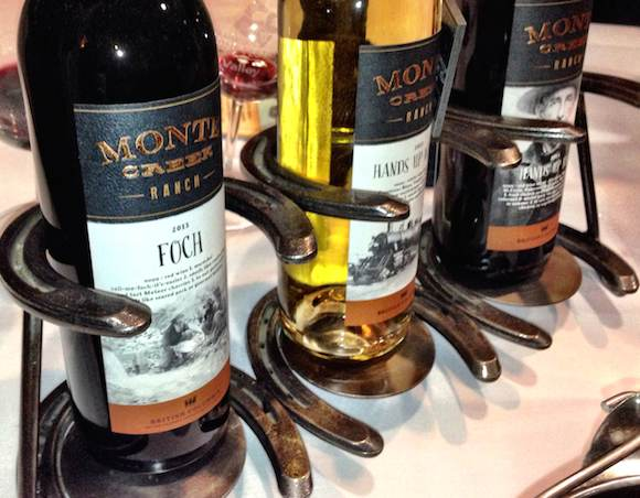 Spotted at Sun Peaks Progressive Tasting: very cool horseshoe bottle stands by Kamloops newcomer Monte Creek Ranch