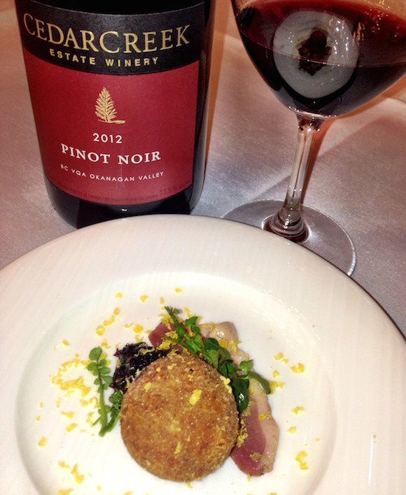 Vintners second place: Superb Forage cured Yarrow Farms duck breast with duck confit arancini, Haskap preserve and Cedarcreek Pinot
