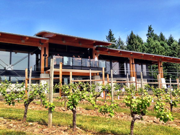 The impressive, new Blue Grouse tasting room and winery enjoys a south facing aspect overlooking the Cowichan Valley