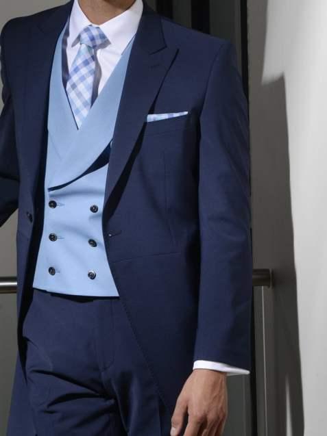 Panama Bue Pure Wool Double Breasted Waistcoat