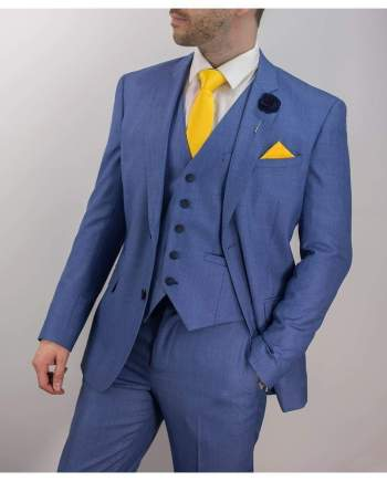 Blue Jay 3 Piece Slim Fit sky Suit - 36S / 30S - Suit & Tailoring