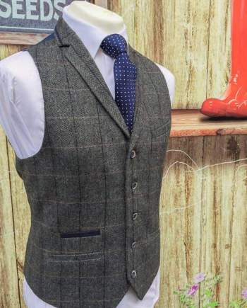 Cavani Albert Grey Mens Tweed Check Lapel Waistcoat - 36 / Short - Suit & Tailoring