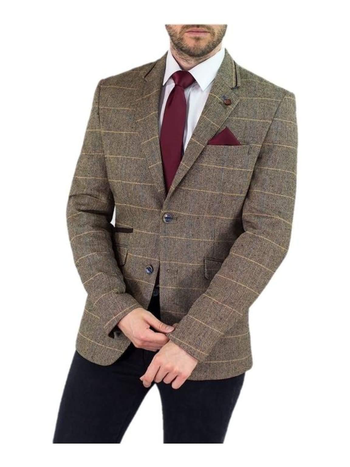 Cavani Albert Mens Brown Sim Fit Tweed Style Jacket - 34 / Regular - Suit & Tailoring