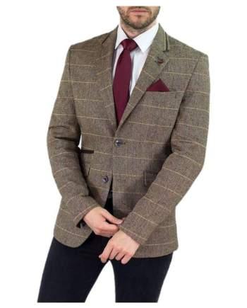Cavani Albert Mens Brown Sim Fit Tweed Style Jacket - 34 / Regular - Suit & Tailoring