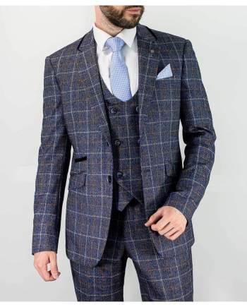 Cavani Bonita 3 Piece Blue Slim Fit Tweed Suit - 36R / 30R - Suit & Tailoring