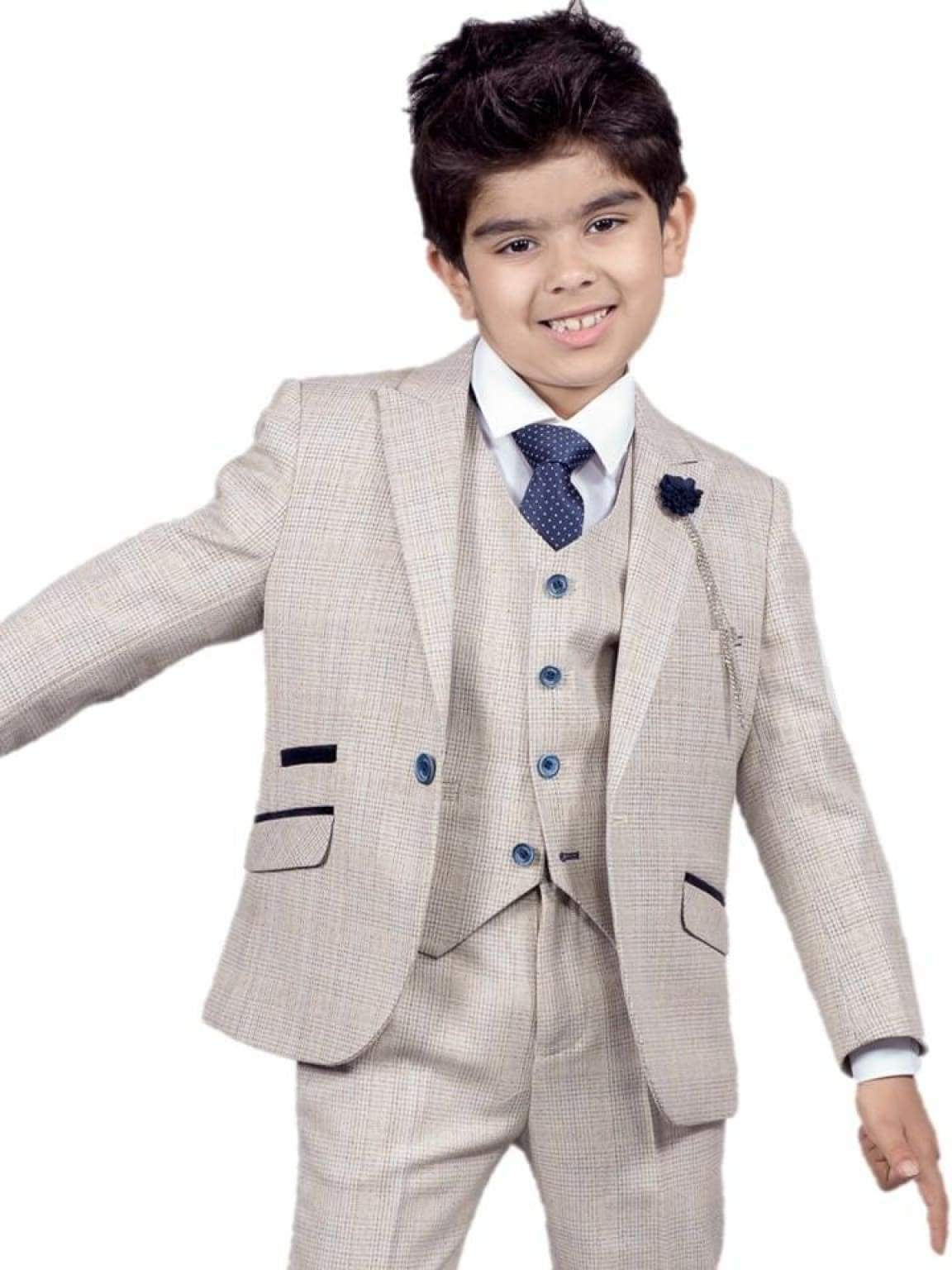 Cavani Caridi Boys Cream Three Piece Slim Fit Check Wedding Suit - 1 YEAR - Suit & Tailoring
