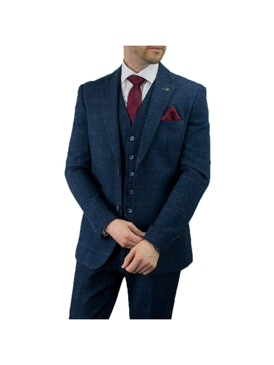 Cavani Carnegi 3 Piece Blue Check Tweed Suit - 36S / 30S - Suit & Tailoring