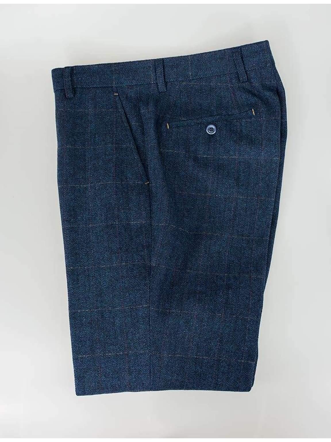 Cavani Carnegi Mens Blue Slim Fit tweed Check Trousers - 30R - Suit & Tailoring