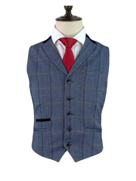 Cavani Connall Blue Tweed Check Style Waistcoat - 36 - Suit & Tailoring