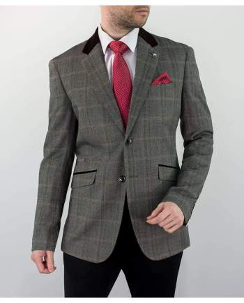 Cavani Connall Brown Sim Fit Tweed Style Blazer - 34 - Suit & Tailoring