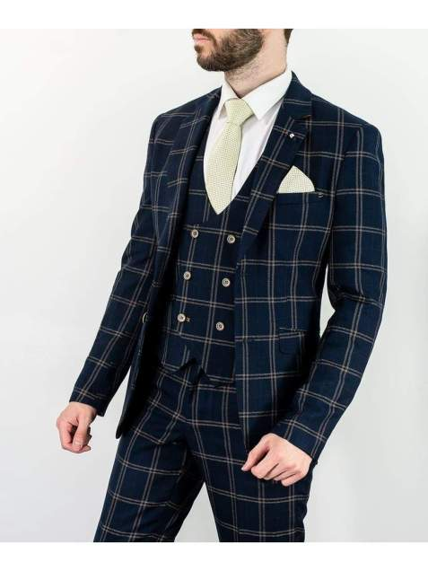 Cavani Hardy Mens Navy Checked Three Piece Suit - 36R / 30R - Suit & Tailoring