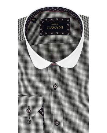 Cavani Penny Collar Black Gingham Check Shirt - UK 14.5 | EU 37 - Shirts