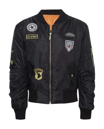 Celebrity Badged Classic Padded Bomber Jacket In Black - XS - Shirts