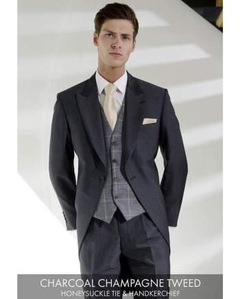 Heirloom Charcoal Champagne Luxury 100% Wool Tweed Waistcoat - 34R - WAISTCOATS