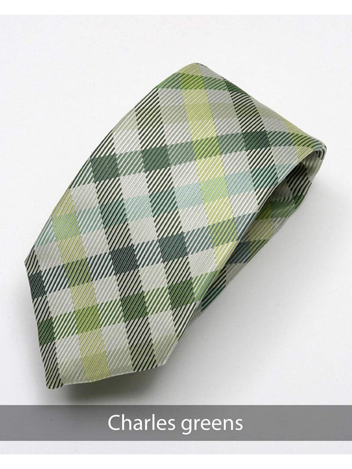 Heirloom Charles Mens Greens Check Tie - Accessories